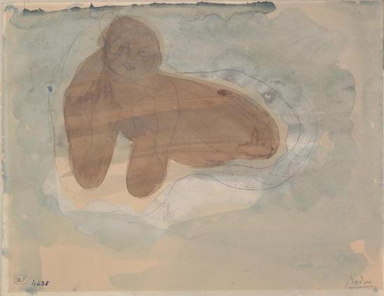 Auguste Rodin (1840-1917) -allongée sur les coudes, le graphite;  aquarelle;  gouache