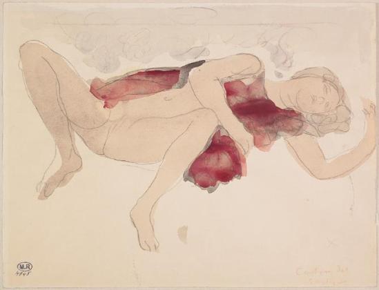 Auguste Rodin de graphite (1840-1917) -Bacchus Cantitiques hymnes femme jambes à moitié nu lecartées;  aquarelle, 1880-1910