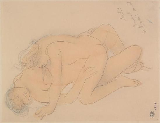 Auguste Rodin (1840-1917) - couple graphite;  aquarelle;