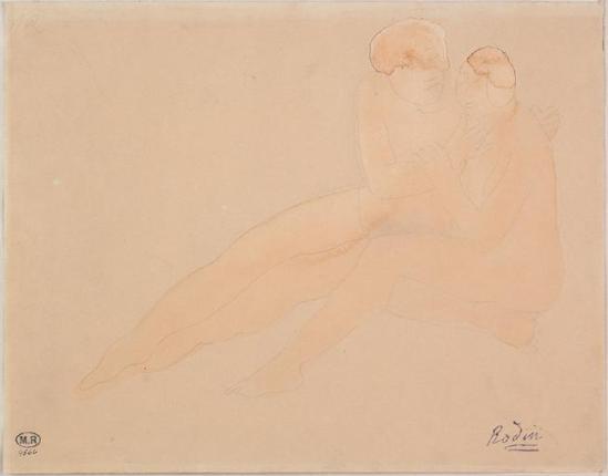 Auguste Rodin (1840-1917) - Couple assis saphique, graphite fané aquarelle, 1880-1910