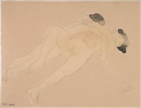 Auguste Rodin (1840-1917) - quelques saphique, crayon aquarelle