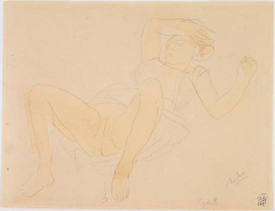 Auguste Rodin (1840-1917) -Cybelle, Femmenue à cartées jambes de la main sur le crayon à sourcils;  aquarelle;  1880-1910