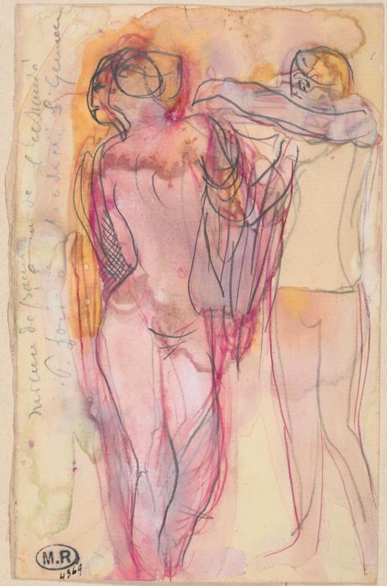 Auguste Rodin (1840 -1917).  Deux femmes qui aident les uns les autres de faire un vêtement 1890 Crayon, encre, aquarelle et gouache sur papier