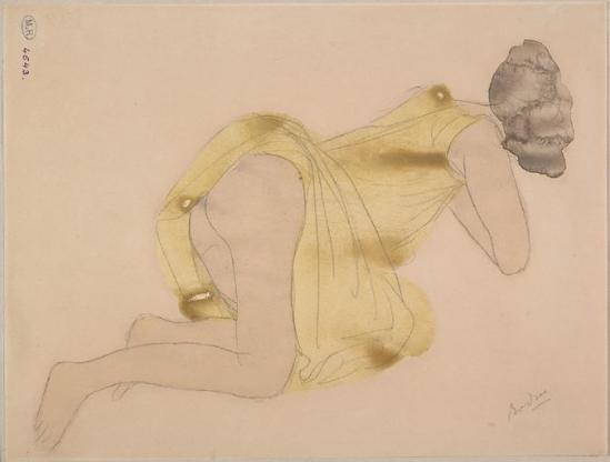 Auguste Rodin (1840-1917) -Gamme sur le côté de la de vêtements relevéemine plomb;  aquarelle