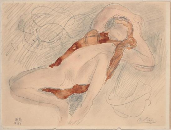 Auguste Rodin (1840-1917) -Les femmes allongé les jambes écartées à, déclaration de graphite vêtement;  fane;  aquarelle, après 1898