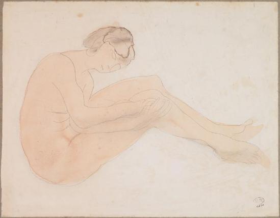 Auguste Rodin (1840-1917) - Femme assise, le graphite;  aquarelle;