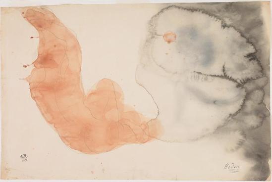 Auguste Rodin (1840 -1917) femme nue assise dos, les bras le graphite élevés;  aquarelle;  papier (beige)