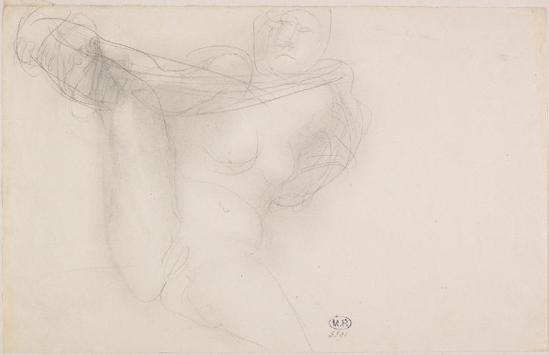 Auguste Rodin (1840-1917) - Femme Nue jambe graphite soulevé grisé 1880-1910