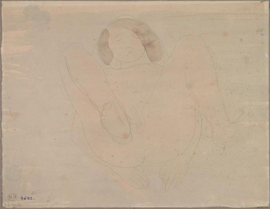 Auguste Rodin (1840-1917) - Femme nue sur ses pattes arrière haute de graphite;  aquarelle, 1880-1910