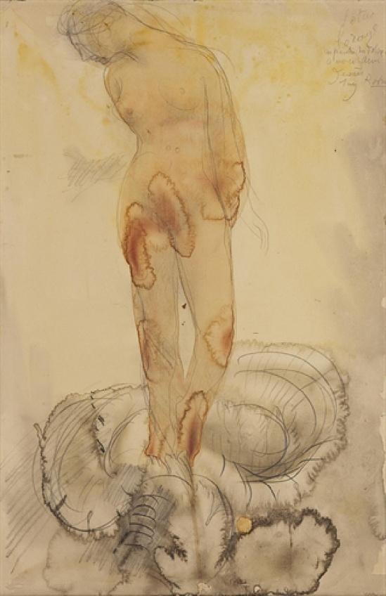 Auguste Rodin (1840-1917) ou L'orage Lotus signée, titrée et inscrit «tempête de lotus dans les Dolomites était mon ami le peintre Jeanes Rodin Août, 1900