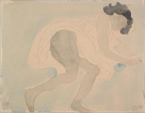 Auguste Rodin (1840-1917) - couché dos nu accroupi bras tendu, le graphite;  aquarelle;  grisé