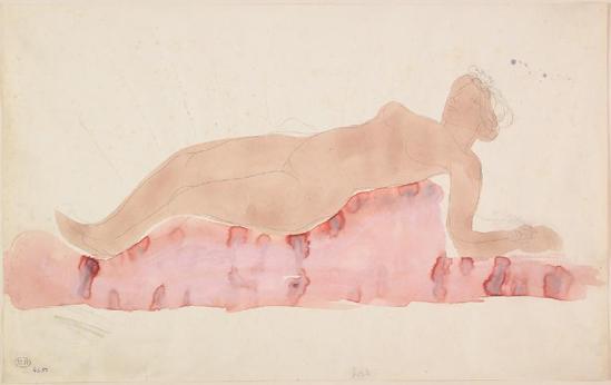 Auguste Rodin (1840-1917) graphite -nu allongée;  aquarelle;  gouache