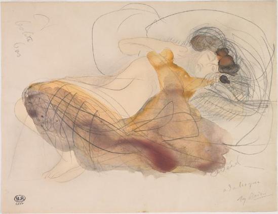 Auguste Rodin (1840-1917) Odalisque -Reveil graphite;  watercolor 1880-1910