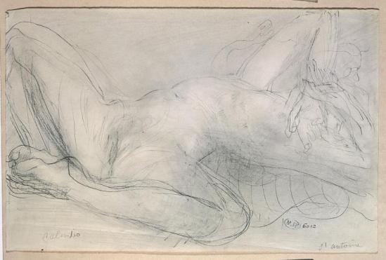 Auguste Rodin (1840-1917) - en 1900 -à crayon Salambô et estompe sur papier
