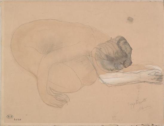 Auguste Rodin (1840-1917) - accroupi nu plaidant bras tendu, le graphite;  aquarelle;  grisé