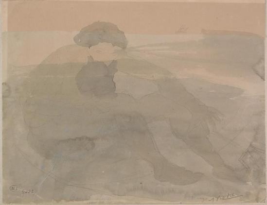 Auguste Rodin (1840-1917) -Ulysse dit le bateau ou le graphite nuage;  aquarelle;  gouache