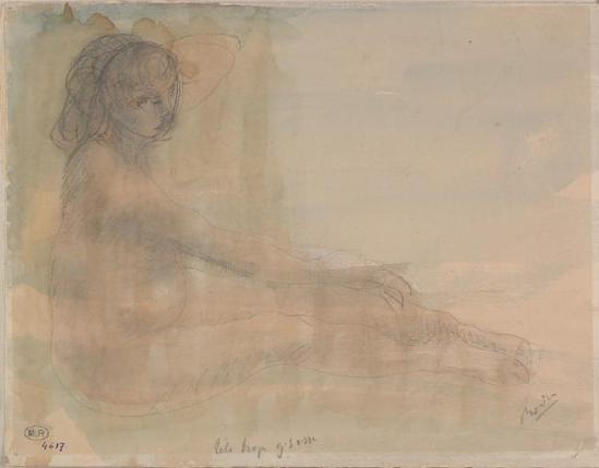 Auguste Rodin (1840-1917) assis profil de FEMMEN nu, graphite estompée;  aquarelle