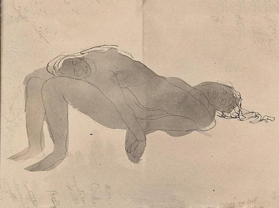 Auguste Rodin -Contemplation - ascension, avant 1910 encre noire stylo aquarelle