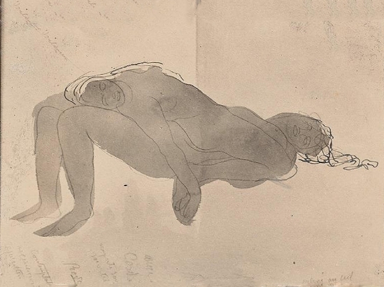 Auguste Rodin -Contemplation - ascension, avant 1910 encre noire stylo aquarelle