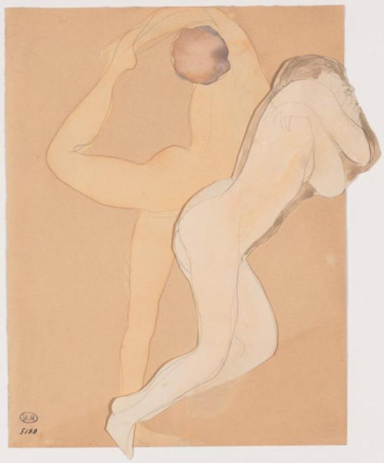 Auguste Rodin, Couple femme au crayon graphite et Acquarelle 1900