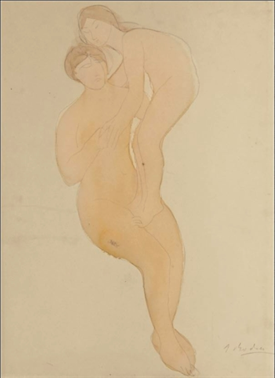 Auguste Rodin-Deux femmes, un debout en équilibre sur l'autre 1898-1900
