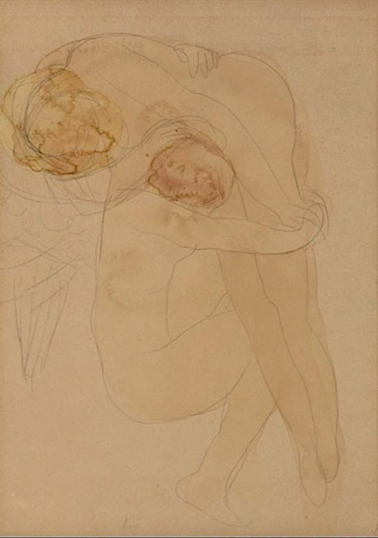 Auguste Rodin ailes femme accroupie, tenant une autre femme sur son épaule signé, inscrit «L.  Mulhem.  [Sic] A Rodin '(en haut à droite) 1900