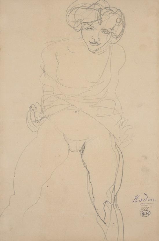 Auguste Rodin Femme assise visage, des vêtements grandi sur les jambes écartées, appelé crayon Psyché