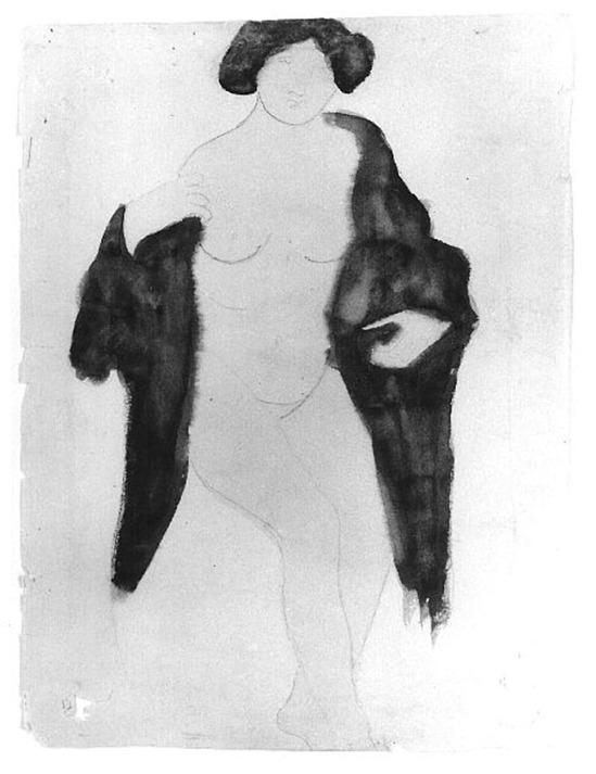Auguste Rodin -Femme à la fourrure, avant 1910 aquarelle encre de stylo fil noir