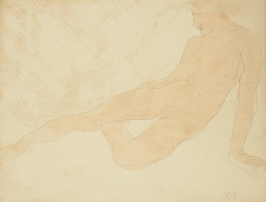 Auguste Rodin femme couchée-signé avec de l'AR 'les initiales (en bas à droite) de la gouache et graphite sur papier 1896- 1900