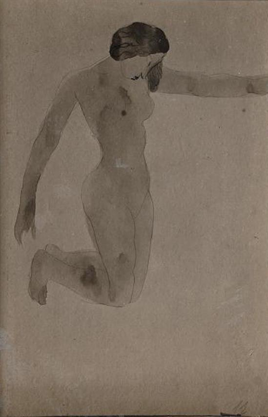 Auguste Rodin -Femme de genoux nus vers la droite, avant 1910 stylo aquarelle encre noire (crayon graphite annotation Poèmes de H (...) Poétique 1910