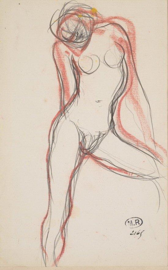 Auguste Rodin Femme nue dans la jambe gauche côté, crayon de couleur et mine de plomb,