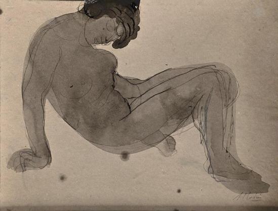 Auguste Rodin -Femme nue hausse II avant 1916 encre noire stylo aquarelle