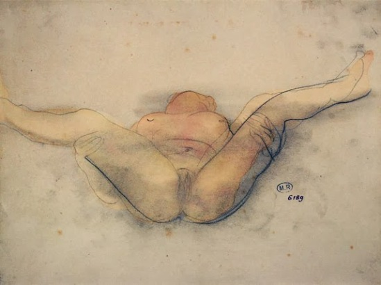 Auguste Rodin-femme nue sur le dos, les jambes écartées maintenant 1900 crayon de graphite, gouache et à la décoloration s