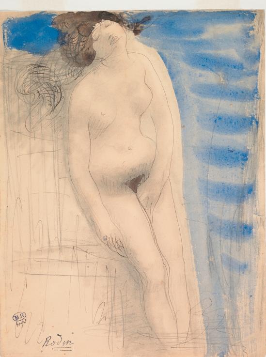 Auguste Rodin, Femme nue, une main entre les cuisses appelés Naissance de Vénus, crayon graphite, aquarelle, encre brune se fane, plume, 1900