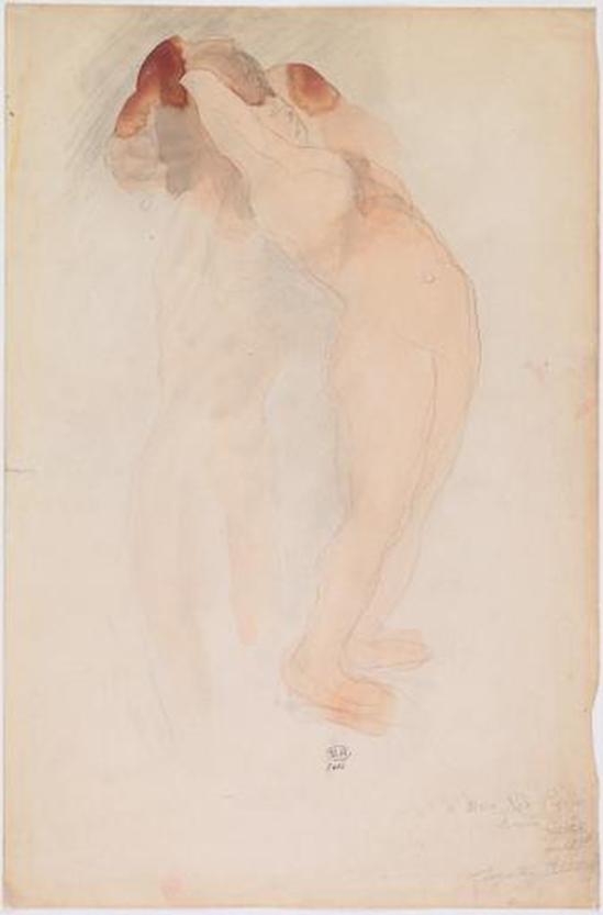 Auguste Rodin -Jardin SUPPLICES.UNE DE femme nue se soutenir mutuellement QUI EST LA RENVERSE BUSTE BACKWARDS plomb reculé, (retour aquarelle enregistrement a Marie Rose mémoire du 13 Juillet, 1916