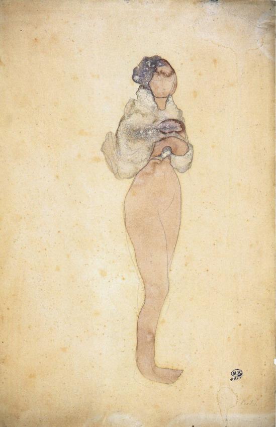 Auguste Rodin- La Cigale, watercolor, pencil and 1896-1900