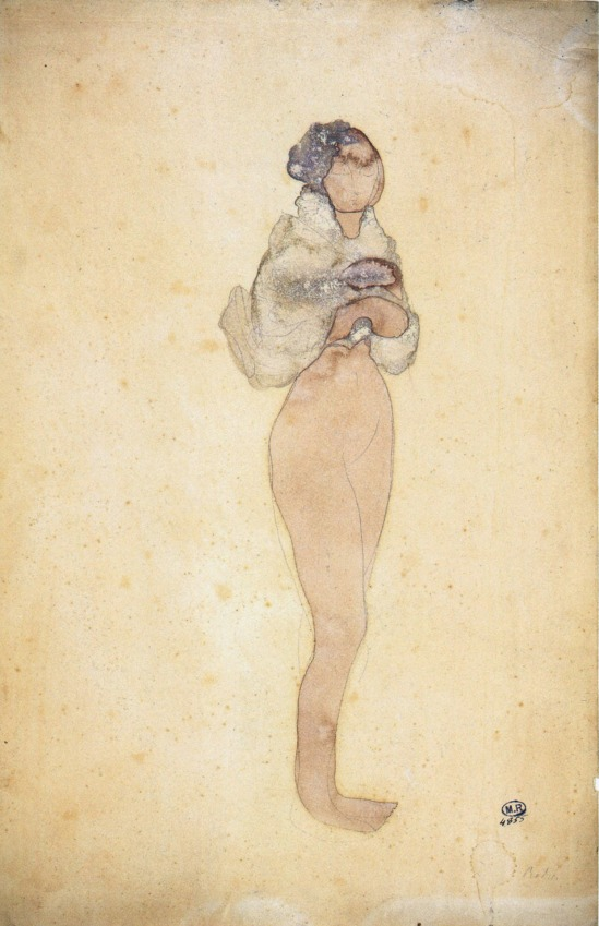 Auguste Rodin- La Cigale, watercolor, pencil and 1896-1900