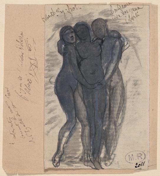 Auguste Rodin- Liberté, Egalité, Fraternité (avant), crayon graphite;  plume;  lavis gris;  gouache;  papier (crème, vers 1882