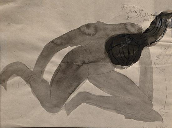 Auguste Rodin -Psyché, femme attachée par les cheveux pour un autel avant 1910 aquarelle, stylo à encre noire