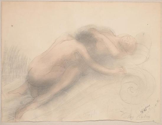 Rodin- Augustus Temple de l'Amour;  crayon de graphite;  fane;  aquarelle crème de papier, avant 1916