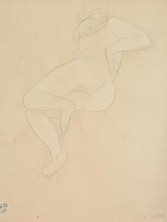 Auguste Rodin, femme nue couchée sur le côté connu Carving, crayon graphite, 1900