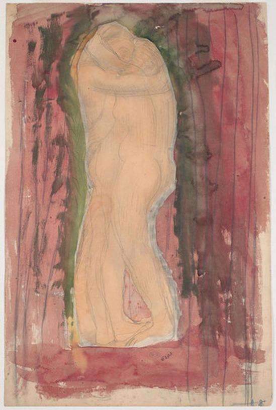 © Auguste Rodin (1840-1917) - Couple enlacé permanent du profil idéal 1900 crayon et aquarelle sur papier