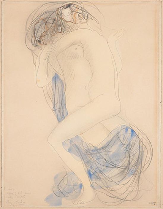 © Auguste Rodin (1840-1917) - deux femmes enlacées- 1908 crayon et aquarelle sur papier