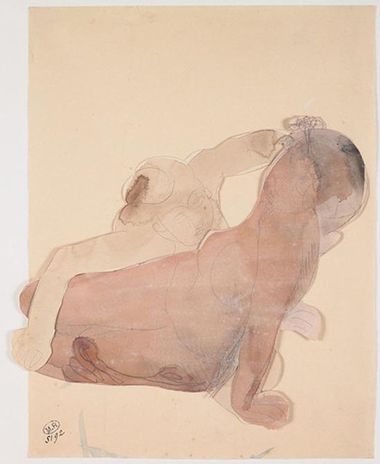 © Auguste Rodin (1840-1917) - Deux femmes demi-nue couchée vers 1900 crayon et aquarelle sur papier découpé et assemblé
