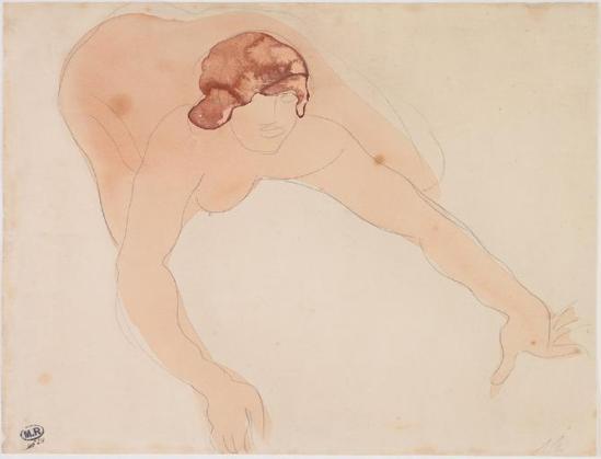 © Auguste Rodin (1840-1917) - Femme accroupie, crayon, aquarelle 1900-1916