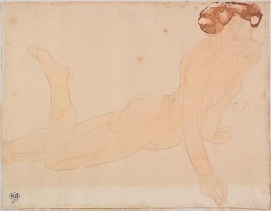© Auguste Rodin (1840-1917) - Femme allongée, le torse droit, le graphite, l'aquarelle 1900-1916