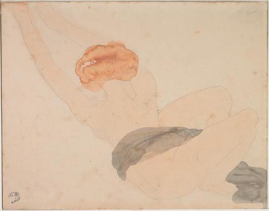 © Auguste Rodin (1840-1917) - Femme allongée ,, graphite, aquarelle 1900-1916