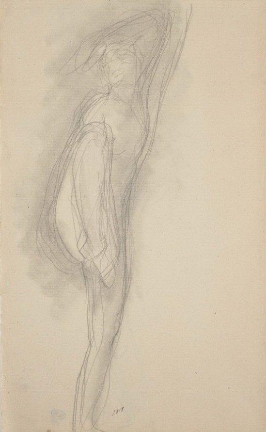 © Auguste Rodin (1840-1917) - Femme nue de face, une jambe levée 1888 crayon et moignon