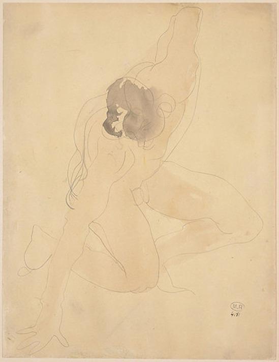 © Auguste Rodin (1840-1917) - Homme ou d'une main et un genou à terre 1896-1898 crayon et aquarelle sur papier