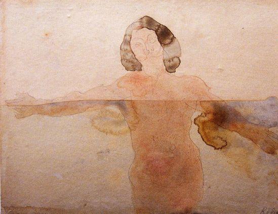 © Auguste Rodin (1840-1917) - L'homme qui nage dessin aquarelle 1900
